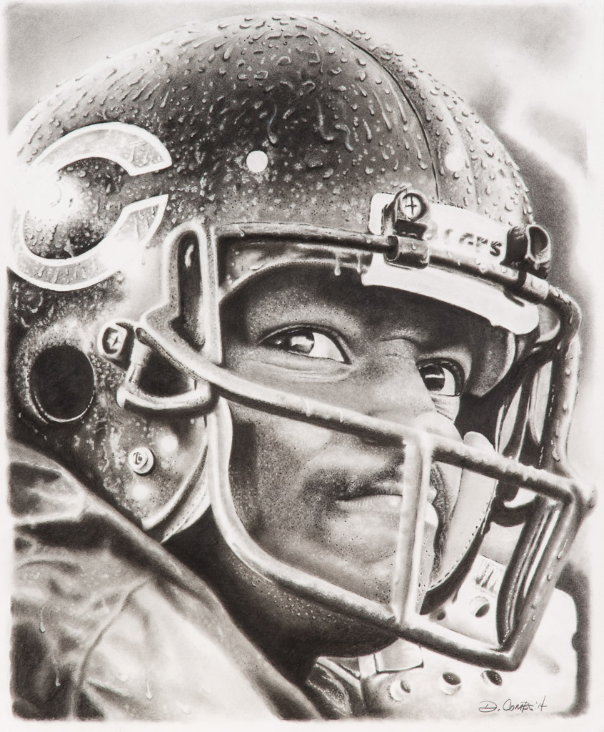 Walter Payton; David Combs; 2014; graphite, charcoal; 19x24 inches