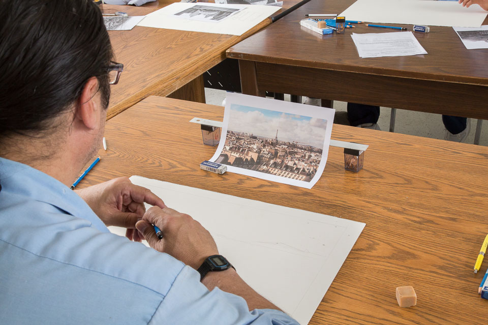 Alliance for California Traditional Arts at Pleasant Valley State Prison; drawing instructor Omar Ramirez